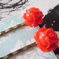 A Pair of Lipstick Red Vintage Rosebud Bronze Bobby Pins - hair clips slides pins flower